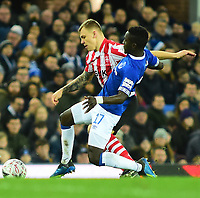 Lincoln City's Harry Anderson vies for possession with Everton's Idrissa Gueye<br /> <br /> Photographer Andrew Vaughan/CameraSport<br /> <br /> Emirates FA Cup Third Round - Everton v Lincoln City - Saturday 5th January 2019 - Goodison Park - Liverpool<br />  <br /> World Copyright &copy; 2019 CameraSport. All rights reserved. 43 Linden Ave. Countesthorpe. Leicester. England. LE8 5PG - Tel: +44 (0) 116 277 4147 - admin@camerasport.com - www.camerasport.com