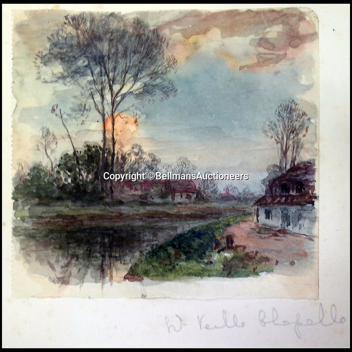 BNPS.co.uk (01202 558833)<br /> Pic: BellmansAuctioneers/BNPS<br /> <br /> West of Veille Chapelle.<br /> <br /> A collection of beautiful First War watercolours that offer a fascinating glimpse into one man's life in the trenches has emerged for sale a century later.<br /> <br /> Talented artist Finlay Mackinnon, who exhibited multiple times at the prestigious Royal Academy, answered the call to sign up in 1914 and spent almost all of the First World War fighting in France.<br /> <br /> But in his free time on the front he did what he loved best, capturing life in the trenches and also the beauty of their bleak surroundings in his pictures.<br /> <br /> Bellmans Auctioneers, who are selling the album of artwork, know little about the provenance of the album, which is expected to fetch £4,000 at auction.
