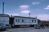 3/4 view of outfit #0307 in a B&amp;B train coupled between gondola #x272 and B&amp;B sleeper #0250 at Alamosa.<br /> D&amp;RGW  Alamosa, CO