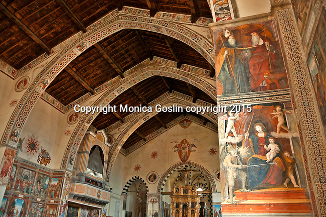 Santa Maria delle Grazie Church built in the 15th century filled with frescoes in Gravedona, Italy a town on the northern end of Lake Como