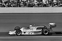 INDIANAPOLIS, IN: Janet Guthrie drives her Lightning 76 1/Offenhauser TC during the Indianapolis 500 on May 29, 1977, at the Indianapolis Motor Speedway.