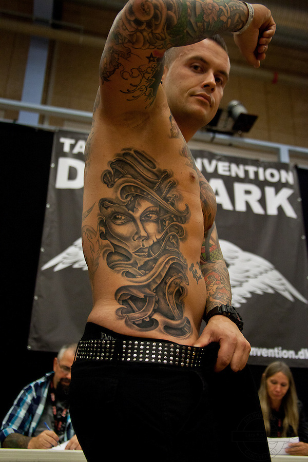 Tattoo Convention in Kolding 2011. Arranged by BodyMod.dk<br /> Black and grey fantasy portrait.