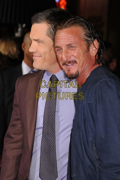 "Josh Brolin and Sean Penn.""Gangster Squad"" Los Angeles Premiere held at Grauman's Chinese Theatre, Hollywood, California, USA..January 7th, 2013.half length  blue jacket brown suit purple shirt goatee facial hair side profile greasy slicked back hair wet .CAP/ADM/BP.©Byron Purvis/AdMedia/Capital Pictures."