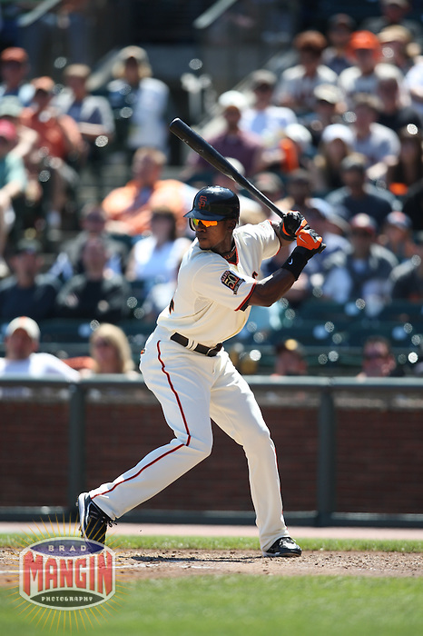 SAN FRANCISCO - AUGUST 24:  Fred Lewis of the San Francisco Giants bats during the game against the San Diego Padres at AT&T Park in San Francisco, California on August 24, 2008.  The Giants defeated the Padres 7-4.  Photo by Brad Mangin