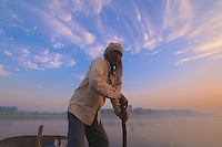 Foggy sunrise at the Yamuna River  new the Taj Mahal, Agra India