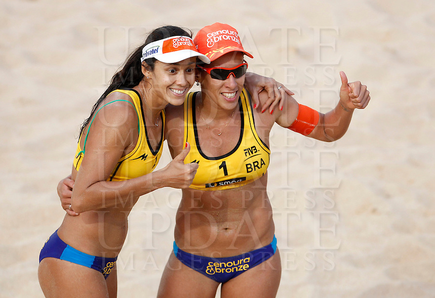 Brazil's Talita Antunes, left, and Taiana Lima celebrate at the Beach Volleyball World Tour Grand Slam, Foro Italico, Rome, 22 June 2013. Brazil defeated Germany 2-1.<br /> UPDATE IMAGES PRESS/Isabella Bonotto