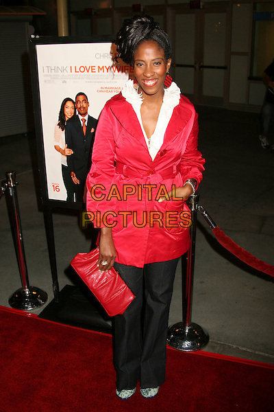 "SHONDRELLA AVERY.""I Think I Love My Wife"" Los Angeles Premiere at ArcLight Cinemas, Hollywood, California, USA..March 7th, 2007.full length black trousers red jacket clutch purse bag mac hand in pocket.CAP/ADM/BP.©Byron Purvis/AdMedia/Capital Pictures"