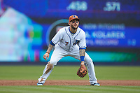 Durham Bulls third baseman Brandon Snyder (7) on defense against the Buffalo Bison at Durham Bulls Athletic Park on April 25, 2018 in Allentown, Pennsylvania.  The Bison defeated the Bulls 5-2.  (Brian Westerholt/Four Seam Images)
