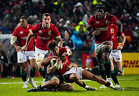 Anthony Watson is tackled during the 2017 DHL Lions Series rugby union match between the NZ Maori and British & Irish Lions at Rotorua International Stadium in Rotorua, New Zealand on Saturday, 17 June 2017. Photo: Dave Lintott / lintottphoto.co.nz