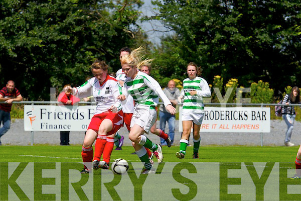 Megan O'Connor of Listowel Celtic launches an attack against Aishling Barrett of Kilmore Ladies FC in the Cup semi final played last Sunday in Pat Kennedy Park, Listowel.
