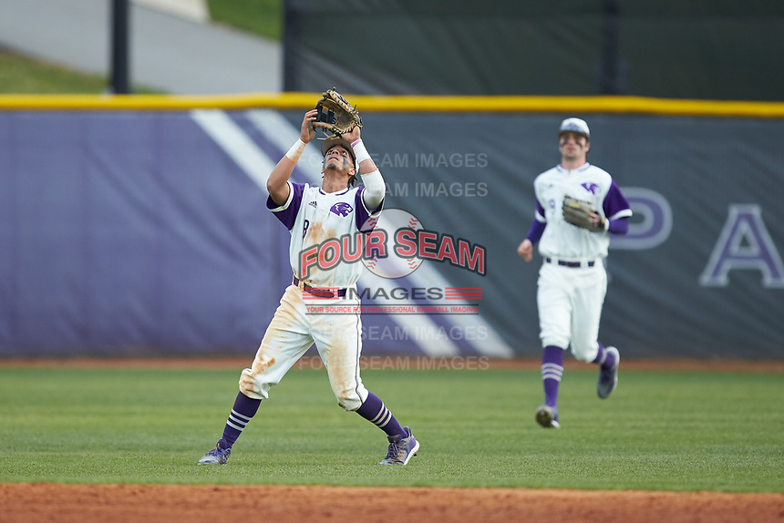 High Point Panthers second baseman Travis Holt (8) settles under a pop fly during the game against the Campbell Camels at Williard Stadium on March 16, 2019 in  Winston-Salem, North Carolina. The Camels defeated the Panthers 13-8. (Brian Westerholt/Four Seam Images)