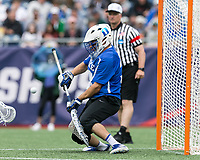 Foxborough, Massachusetts - May 28, 2018: NCAA Division I tournament final. Yale University (white) defeated Duke University (blue/white), 13-11, at Gillette Stadium.<br /> Goal.