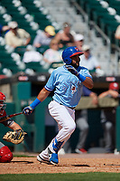 Buffalo Bisons Socrates Brito (51) hits a single during an International League game against the Lehigh Valley IronPigs on June 9, 2019 at Sahlen Field in Buffalo, New York.  Lehigh Valley defeated Buffalo 7-6 in 11 innings.  (Mike Janes/Four Seam Images)