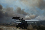 General view of a wildfire in Cualedro, near Ourense on August 24, 2013. (c) Pedro ARMESTRE.