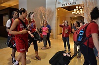 Dallas, TX - Friday March 31, 2017: Stanford players, Shannon Coffee prior to the NCAA National Semifinal Game between the women's basketball teams of Stanford and South Carolina at the American Airlines Center.