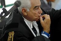 L'Aquila. la seconda udienza del processo alla commissione grandi rischi. Ià ottobre 2011. L'avvocato Marcello Melandri, difensore di Enzo Boschi, ex presidente dell'INGV.