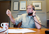 United States President George W. Bush discusses developments in the Middle East during a phone call with Saudi Crown Prince Abdullah, Saturday morning, March 30, 2002 at the Bush Ranch in Crawford, Texas. <br /> Mandatory Credit: Eric Draper / White House via CNP