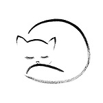Cute snuggly sleeping cat artistic oriental style illustration design based on original sumi artwork isolated black on white background
