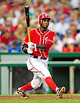 28 August 2010: Washington Nationals outfielder Nyjer Morgan at bat against the St. Louis Cardinals at Nationals Park in Washington, DC. The Nationals defeated the Cards 14-5 to take the third game of their 4-game series. Mandatory Credit: Ed Wolfstein Photo