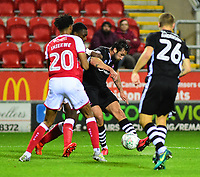 Lincoln City's Ollie Palmer curls the ball between Rotherham United's Michael Ihiekwe and Lincoln City's Harry Anderson<br /> <br /> Photographer Andrew Vaughan/CameraSport<br /> <br /> The Carabao Cup First Round - Rotherham United v Lincoln City - Tuesday 8th August 2017 - New York Stadium - Rotherham<br />  <br /> World Copyright &copy; 2017 CameraSport. All rights reserved. 43 Linden Ave. Countesthorpe. Leicester. England. LE8 5PG - Tel: +44 (0) 116 277 4147 - admin@camerasport.com - www.camerasport.com