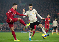 Manchester United's Andreas Pereira battles with Liverpool's Alex Oxlade-Chamberlain<br /> <br /> Photographer Alex Dodd/CameraSport<br /> <br /> The Premier League - Liverpool v Manchester United - Sunday 19th January 2020 - Anfield - Liverpool<br /> <br /> World Copyright © 2020 CameraSport. All rights reserved. 43 Linden Ave. Countesthorpe. Leicester. England. LE8 5PG - Tel: +44 (0) 116 277 4147 - admin@camerasport.com - www.camerasport.com
