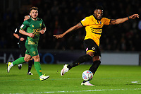 Jamille Matt of Newport County has a shot during the Sky Bet League Two Play-off Semi Final: First Leg match between Newport County and Mansfield Town at Rodney Parade in Newport, Wales, UK.  Thursday 09 May 2019