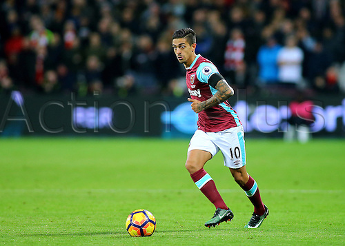 03.12.2016. London Stadium, London, England. Premier League Football. West Ham United versus Arsenal. West Ham United Midfielder Manuel Lanzini on the ball