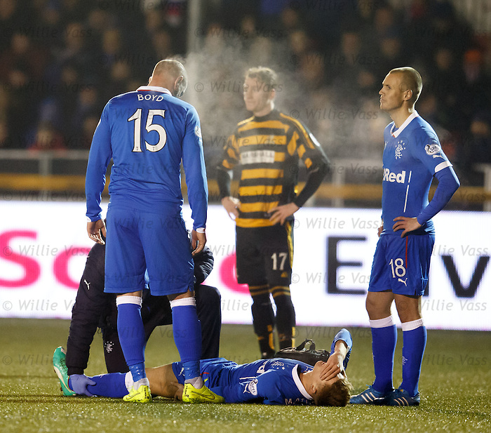 Lewis Macleod in agony after suffering a hamstring injury