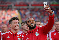 Pictured L-R: James Chester takes a selfie with Ashley Williams  Friday 08 July 2016<br />