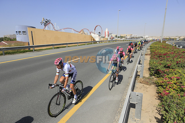 The peloton including Rui Casta (POR) Lampre-Merida pass by Dubailand during Stage 2, the Nakheel Stage, of the 2016 Dubai Tour starting at the Dubai International Marine Club and running 188km to Palm Jumeirah Atlantis, Dubai, United Arab Emirates. 4th February 2016.<br /> Picture: Eoin Clarke | Newsfile<br /> <br /> <br /> All photos usage must carry mandatory copyright credit (&copy; Newsfile | Eoin Clarke)