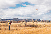 Mike Heard of Bozeman takes aim at a ring-necked pheasant during a retreiver hunt test sponsored by Missouri Headwaters Gun Dog Club in Three Forks on April 5, 2014.