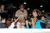 Quad Cities River Bandits shortstop Carlos Correa #1 signs autographs in the stands after a game against the Wisconsin Timber Rattlers on May 24, 2013 at Modern Woodmen Park in Davenport, Iowa.  Quad Cities defeated Wisconsin 4-3  (Mike Janes/Four Seam Images)