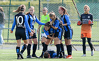 20180915 - Brugge , BELGIUM : Brugge's players pictured their goal and 1-0 lead during the third game in the first division season 2018-2019 between the women teams of Club Brugge Dames and Eendracht Aalst , Saturday 15 September 2018 . PHOTO DAVID CATRY | SPORTPIX.BE