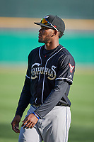Franchy Cordero (10) of the El Paso Chihuahuas before the game against the Salt Lake Bees in Pacific Coast League action at Smith's Ballpark on May 1, 2017 in Salt Lake City, Utah. Salt Lake defeated El Paso 9-4.  (Stephen Smith/Four Seam Images)