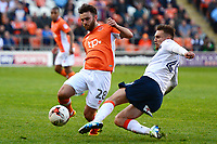 Blackpool's Jack Payne is challenged by Luton Town's Lawson D'Ath<br /> <br /> Photographer Richard Martin-Roberts/CameraSport<br /> <br /> The EFL Sky Bet League Two Play-Off Semi Final First Leg - Blackpool v Luton Town - Sunday May 14th 2017 - Bloomfield Road - Blackpool<br /> <br /> World Copyright &copy; 2017 CameraSport. All rights reserved. 43 Linden Ave. Countesthorpe. Leicester. England. LE8 5PG - Tel: +44 (0) 116 277 4147 - admin@camerasport.com - www.camerasport.com