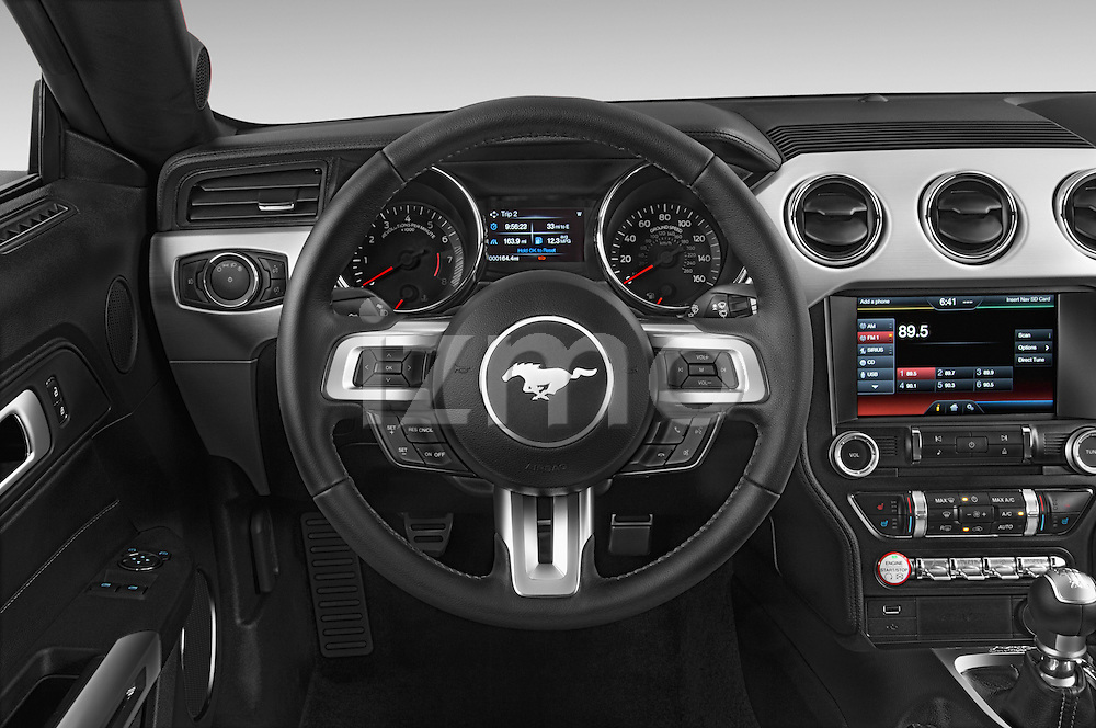 Car pictures of steering wheel view of a 2015 Ford Mustang GT Premium 2 Door Coupe