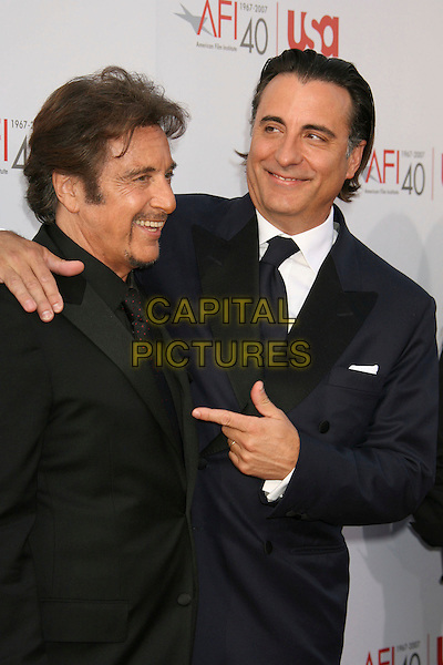 AL PACINO & ANDY GARCIA.35th AFI Life Achievement Award Honoring Al Pacino held at the Kodak Theatre, Hollywood, California, USA..June 7th, 2007.half length black suit jacket goatee facial hair blue pointing .CAP/ADM/RE.©Russ Elliot/AdMedia/Capital Pictures
