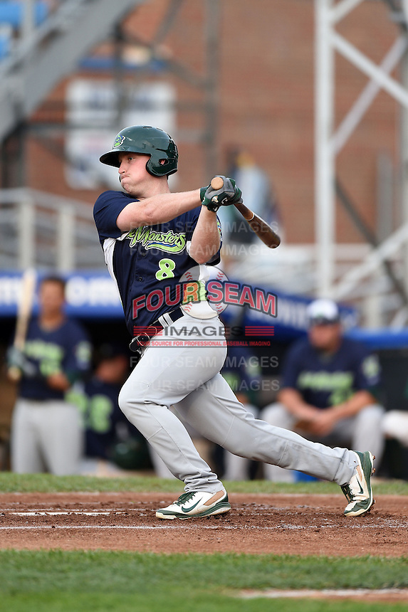Vermont Lake Monsters first baseman John Nogowski (8) at bat during a game against the Jamestown Jammers on July 12, 2014 at Russell Diethrick Park in Jamestown, New York.  Jamestown defeated Vermont 3-2.  (Mike Janes/Four Seam Images)