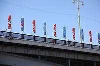 WM-Fahnen auf den Brücken über die Moskwa - 15.06.2018: Sightseeing Moskau