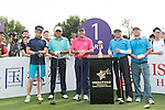He Ping (second from left) at the 1st hole during the World Celebrity Pro-Am 2016 Mission Hills China Golf Tournament on 21 October 2016, in Haikou, China. Photo by Weixiang Lim / Power Sport Images