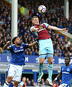 1st October 2017, Goodison Park, Liverpool, England; EPL Premier League Football, Everton versus Burnley; Chris Wood of Burnley wins a header from Ashley Williams of Everton