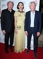 HOLLYWOOD, LOS ANGELES, CA, USA - NOVEMBER 07: Luc Dardenne, Marion Cotillard, Jean-Pierre Dardenne arrive at the AFI FEST 2014 - 'Two Days, One Night' Special Screening held at the Egyptian Theatre on November 7, 2014 in Hollywood, Los Angeles, California, United States. (Photo by Xavier Collin/Celebrity Monitor)