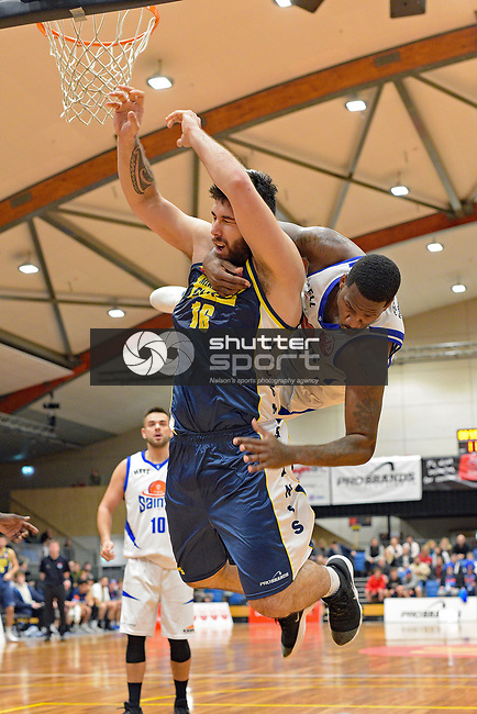 NELSON, NEW ZEALAND July 21: NBL Basketball Mike Pero Nelson Giants v Saints at the Trafalgar Centre, Nelson, New Zealand,, Nelson, New Zealand, July 21, 2018 (Photos by: Barry Whitnall/Shuttersport Ltd