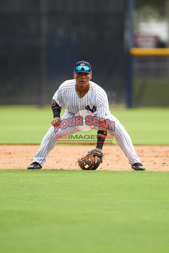GCL Yankees East second baseman Jesus Graterol (6) during the first game of a doubleheader against the GCL Yankees West on July 19, 2017 at the Yankees Minor League Complex in Tampa, Florida.  GCL Yankees West defeated the GCL Yankees East 11-2.  (Mike Janes/Four Seam Images)