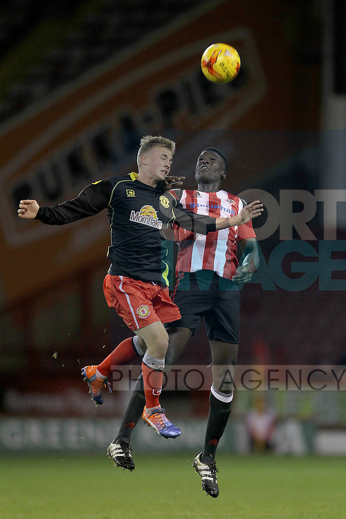 Sheffield United's Joseph Cummings and Crewe's Luke Walley during the FA Youth Cup First Round match at Bramall Lane Stadium, Sheffield. Picture date: November 1st 2016. Pic Richard Sellers/Sportimage