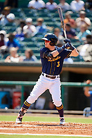 Montgomery Biscuits shortstop Jake Cronenworth (3) at bat during a game against the Biloxi Shuckers on May 8, 2018 at Montgomery Riverwalk Stadium in Montgomery, Alabama.  Montgomery defeated Biloxi 10-5.  (Mike Janes/Four Seam Images)