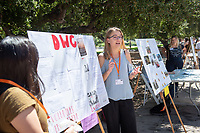 Gillian Matthes, Downtown Women's Center.<br /> 2018 InternLA student participants share their poster presentations about their summer experiences working as interns in Los Angeles. Summer Experience Expo, Sept. 13, 2018 in the Academic Quad. Hosted by Career Services.<br /> (Photo by Marc Campos, Occidental College Photographer)
