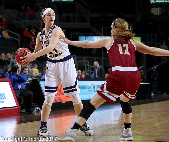 SIOUX FALLS, SD: MARCH 4: Taylor Higginbotham #24 from Western Illinois looks to pass the ball against Denver on March 4, 2017 during the Summit League Basketball Championship at the Denny Sanford Premier Center in Sioux Falls, SD. (Photo by Dave Eggen/Inertia)