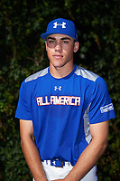Mike Siani (6) of William Penn High School in Glenside, Pennsylvania poses for a photo before the Under Armour All-American Game presented by Baseball Factory on July 29, 2017 at Wrigley Field in Chicago, Illinois.  (Mike Janes/Four Seam Images)