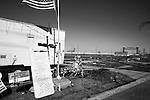 January 30, 2008. New Orleans, LA.. A FEMA trailer sits alone in the  Lower 9th Ward of New Orleans on the eve of the 2nd Mardi Gras since Hurricane Katrina devastated the city,